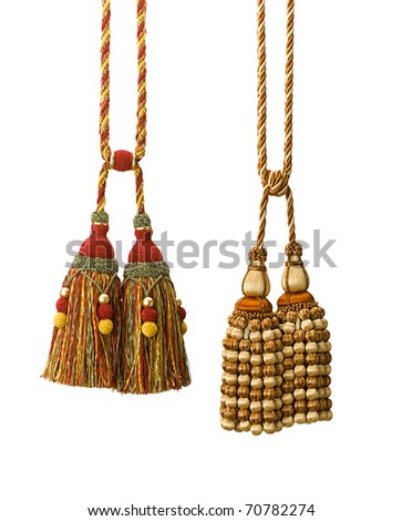 Handcraft tassels for any drapery isolated on white - stock photo