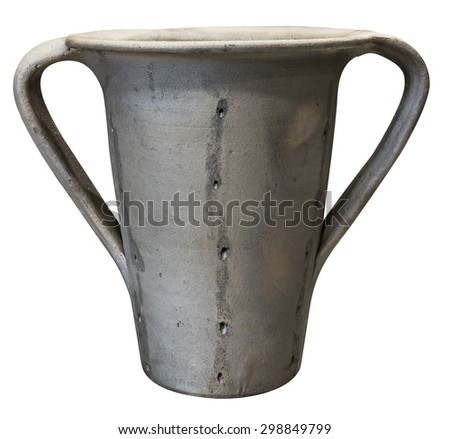 Handcrafted traditional black pottery isolated on white background - stock photo