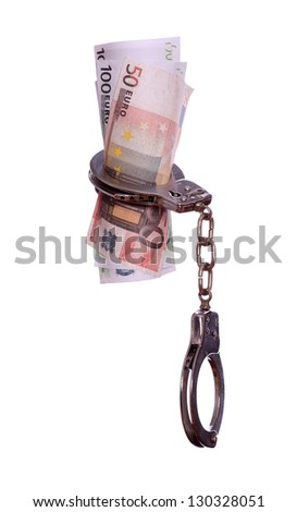 handcuff with euros - stock photo