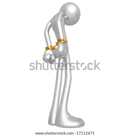 Handcuffed Prisoner - stock photo