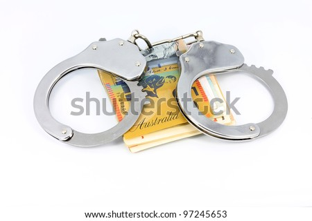 Handcuffs and Australian dollars