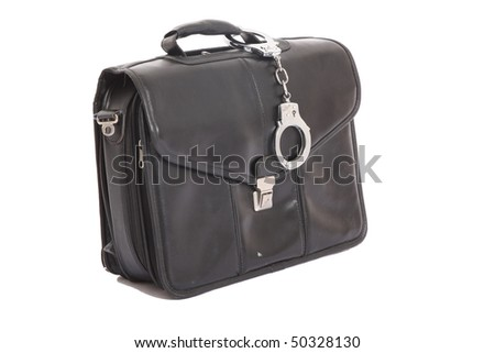 handcuffs attached to a leather case