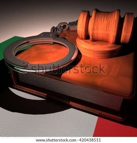 Handcuffs, gavel and book over Italy flag, 3d rendering