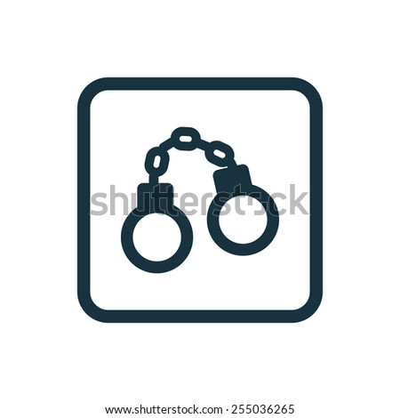 handcuffs icon Rounded squares button, on white background  - stock photo