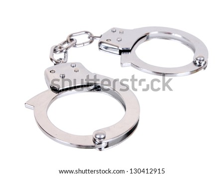 handcuffs isolated in white background - stock photo