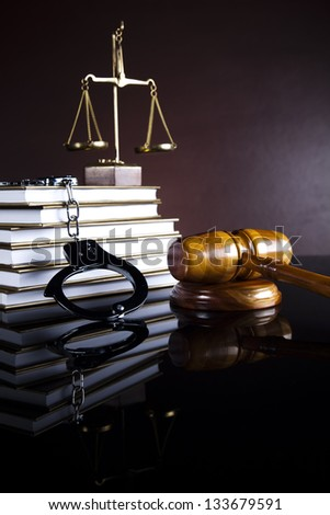 Handcuffs, Legal gavel - stock photo