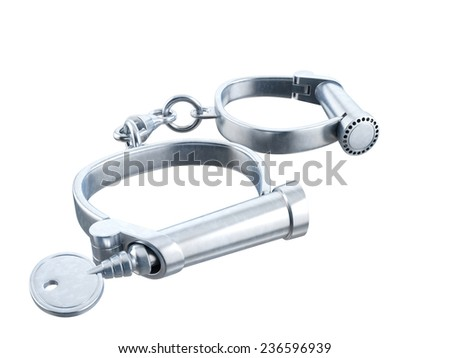 Handcuffs on white background. 3D image - stock photo