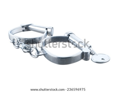 Handcuffs on white background. 3D image