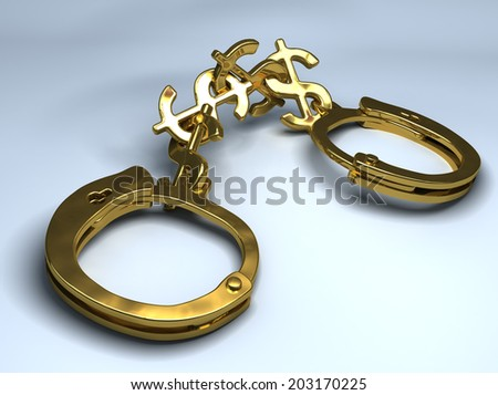 handcuffs with chain made of dollar signs. Conceptual illustration - stock photo