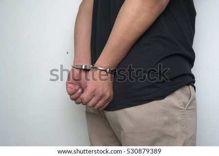 handcuffs with hands behind back