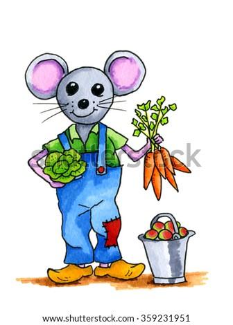 Handddrawn illustration mouse - stock photo