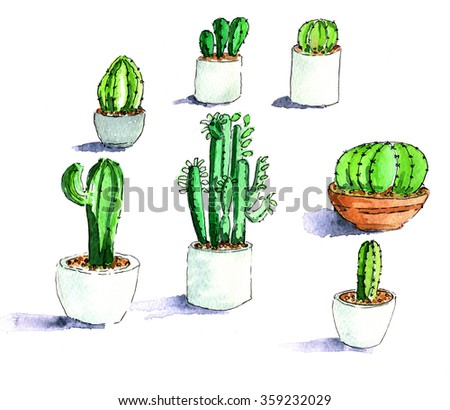 Handddrawn illustration of different cactuses isolated over white background - stock photo