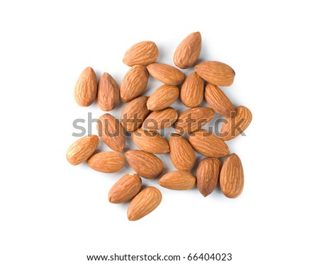Handful almond isolated on a white background - stock photo