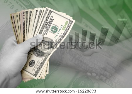 Handful of cash, profit chart, and a firm handshake.  A great image to portray profits or successful business dealings. - stock photo