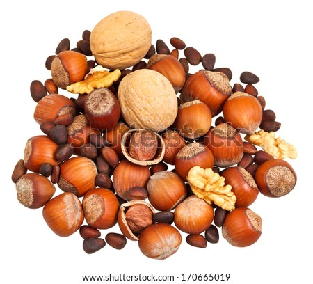 handful of dried nuts isolated on white background - stock photo