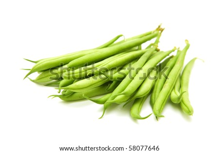 handful of green beans isolated on white background; - stock photo