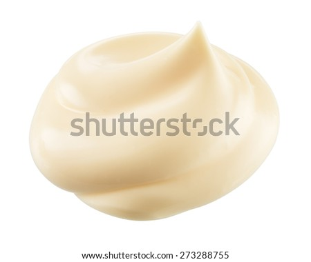 Handful of mayonnaise. Swirl on white background. Clipping path. - stock photo