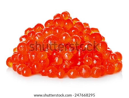 Handful of red caviar isolated on a white background - stock photo
