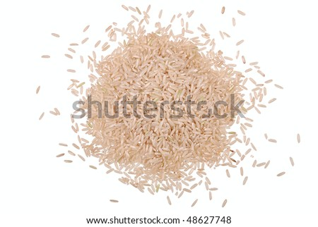 Handful of rice grain isolated on white - stock photo