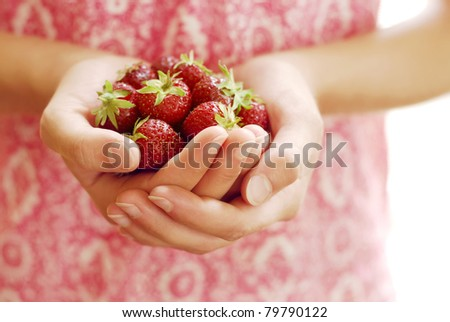 Handful of Ripe Strawberries - stock photo