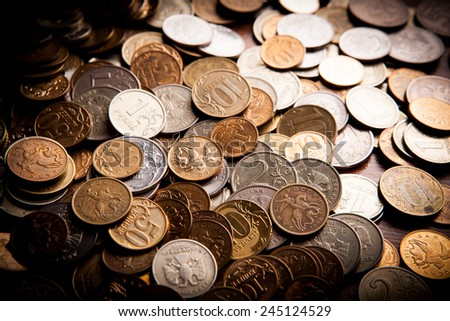 handful of Russian rubles in all directions - stock photo