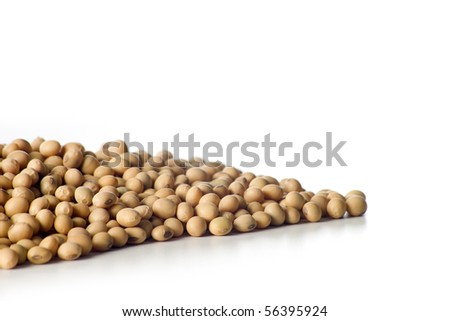 handful of soy beans isolated on white background - stock photo