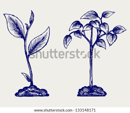 Handful of the ground and plant. Doodle style. Raster version - stock photo