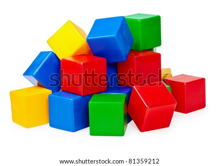 Handful of toy blocks on white background - stock photo