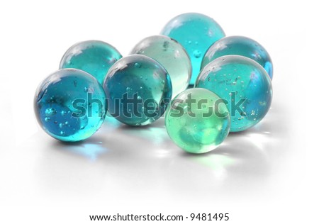 Handful of Turquoise Marbles - stock photo