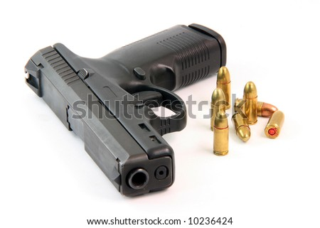 handgun and bullets isolated on white background