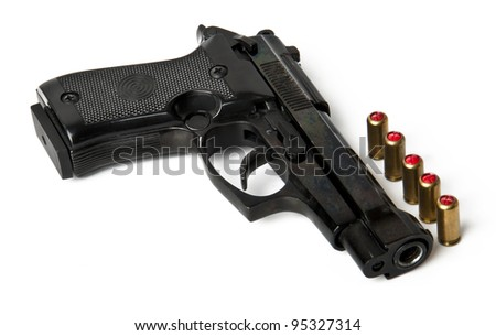 handgun and bullets isolated on white background - stock photo