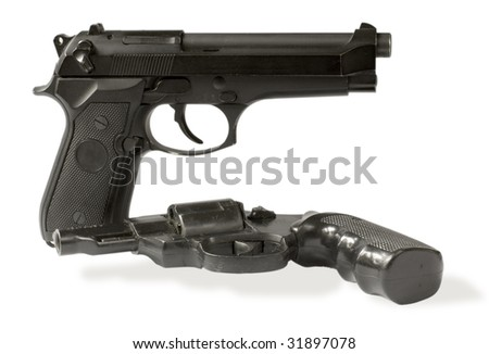 handgun and revolver isolated on white.clipping path inside