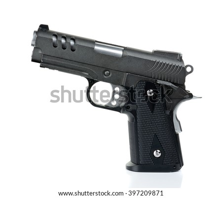 handgun, gun, weapon isolated on white background.