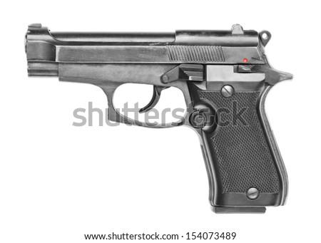 Handgun isolated on white background. - stock photo