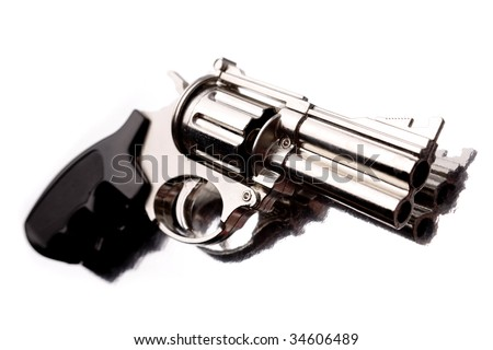 Handgun isolated over white background