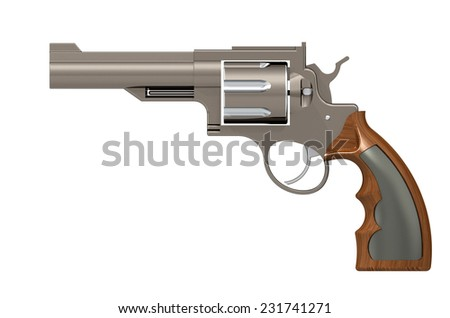 handgun, revolver, gun, weapon isolated on white background. 3D render - stock photo