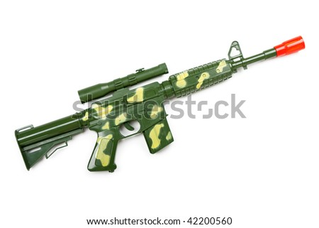 Handgun weapon - crime gun toy isolated on white - stock photo
