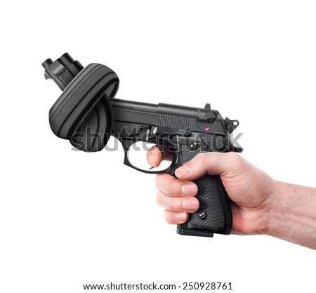 Handgun with knot - stock photo