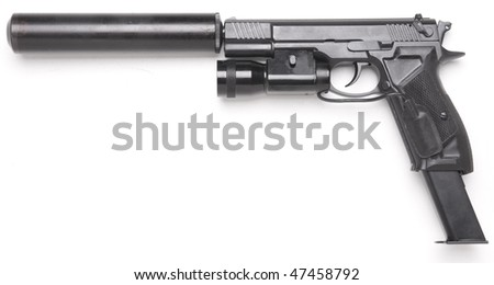 handgun with the lantern long magazine and silencer isolated on white - stock photo