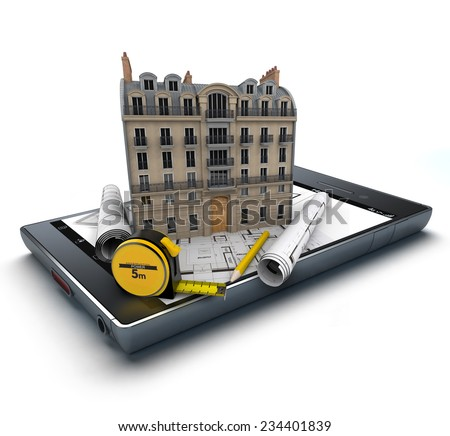 Handheld device with a classic building and blueprints on top - stock photo