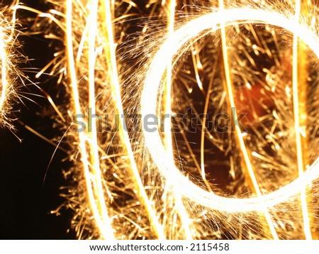 Handheld fireworks - stock photo