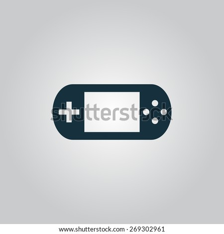 Handheld game console. Flat web icon, sign or button isolated on grey background. Collection modern trend concept design style illustration symbol - stock photo