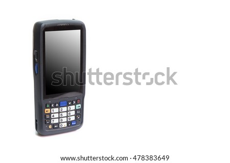 Handheld laser barcode scanner reader with blank screen. On white background