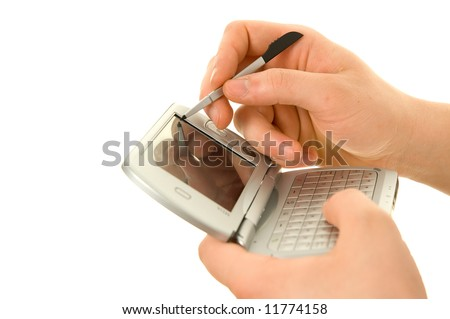 Handheld pda and stylus - stock photo