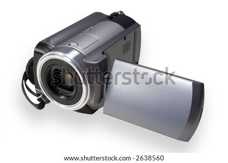 Handheld portbale video camera isolated over white - stock photo