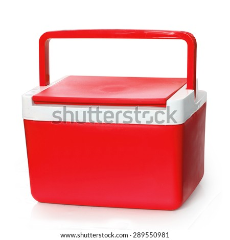 Handheld Red refrigerator isolated over white background. This has clipping path. - stock photo