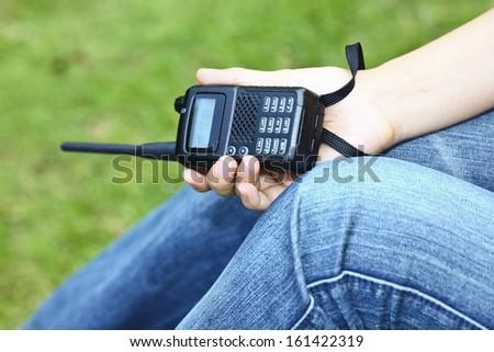 Handheld  walkie talkie for outdoor - stock photo