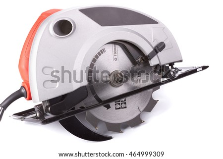 Handherd circular saw on a white background