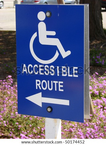 handicap accessible sign - stock photo