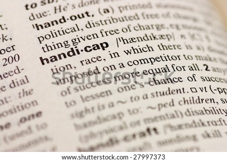 handicap dictionary word - stock photo